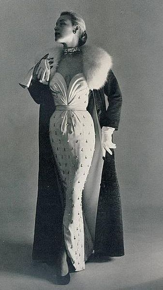 Plunging Strapless Evening Dress and Fur Collar Evening Coat, 1950s.