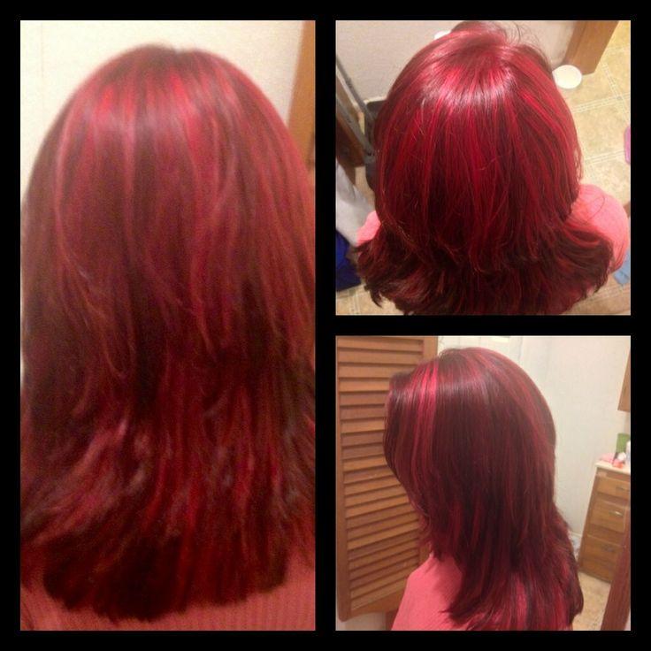 Bright Red highlights and dark hair :) | Hair | Pinterest
