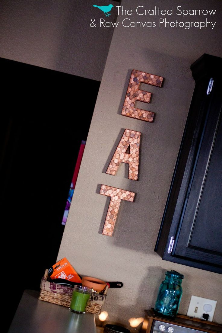 Letter covered with pennies
