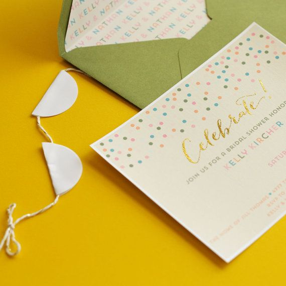 Gold Foil Bridal Shower Invitations with Personalized Envelopes ...
