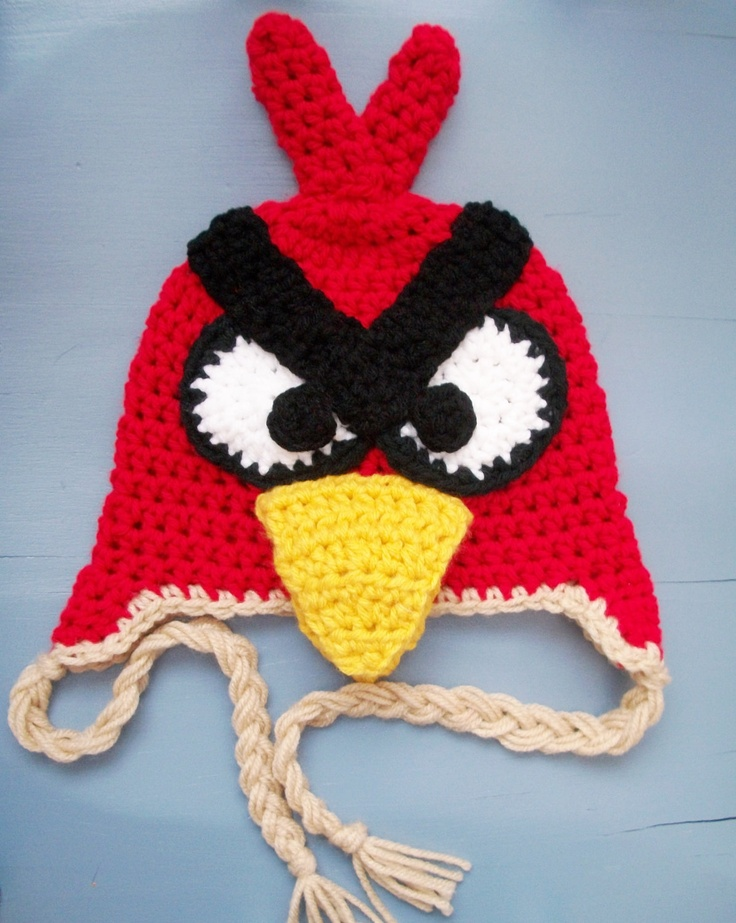Angry Bird Red Crochet Beanie/ Hat, Crocheted Hats ...