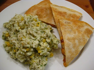 ... Cooking: Texas BBQ Chicken Quesadillas and Mexican Sour Cream Rice