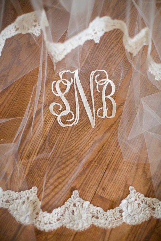 We love the southern charm of a monogrammed veil. | Coastalknot.com