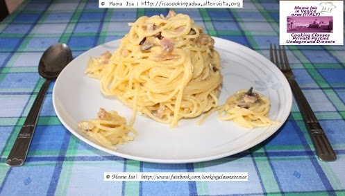bacon and is cured with salt, pepper and spices) and Pecorino Romano ...