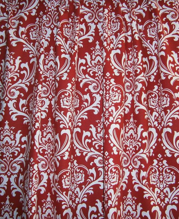 Designer Fabric Shower Curtain Ozborne Damask Red And