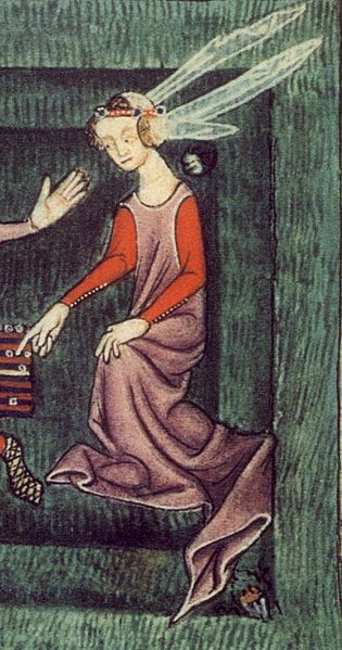 Woman in a garden on a breezy day. Her kirtle sleeves button from the elbow to the wrist, and she wears a sheer veil confined by a fillet or circlet. Her skirt has a long train. Luttrell Psalter, c. 1325–35.