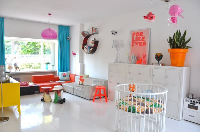 pink orange neon nursery