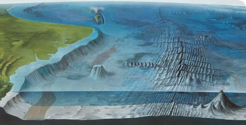... diagram and explanation of the main features of the ocean floor