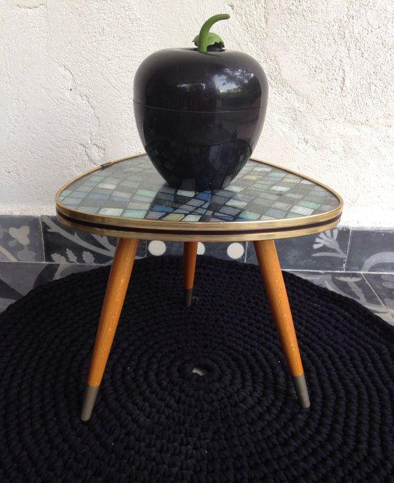 Table Basse Merisier Dessus Marbre ~ Table Basse Vintage Tripode Motifs G?om?triques Bleu Vert Gris