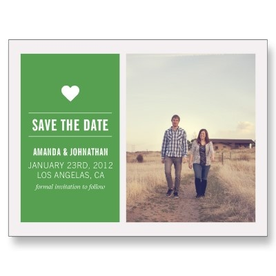 Green Photo Save The Date Post Cards