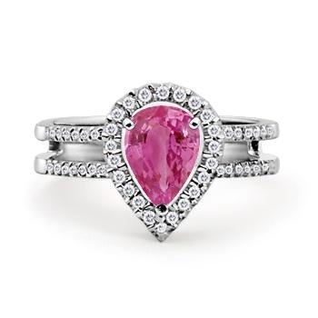 Pear Pink Sapphire and Round Diamond Twin Shank Ring: #Angara