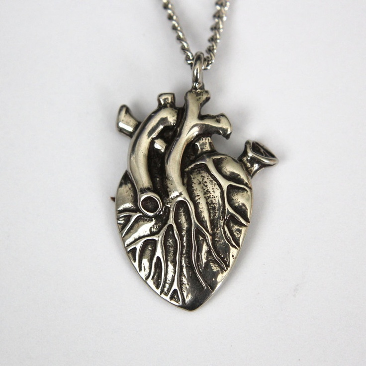 Two Human Hearts Stitched Together Silver human heart necklace    Human With Two Hearts