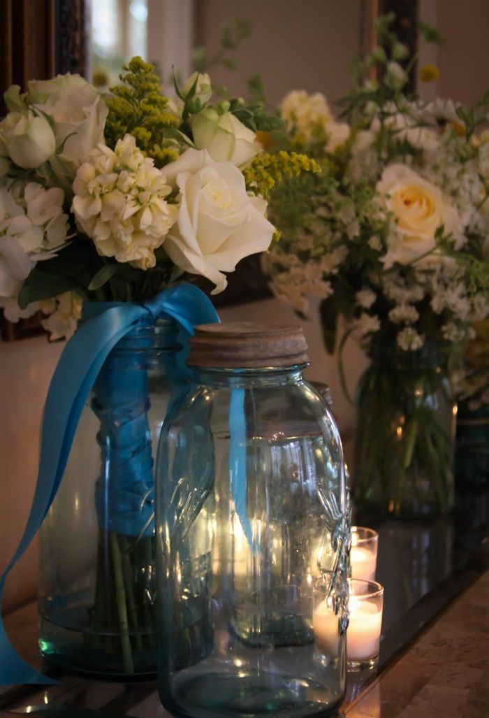 Mason Jars Flowers Wedding Ideas Pinterest