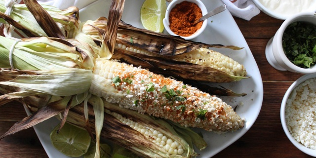 Grilled Corn on the Cob with Crema, Queso Fresco, Chili and Lime
