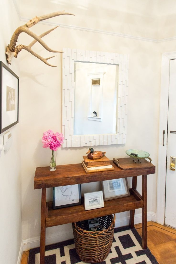 Entryway mirror and narrow wooden shelves. - Rebecca & George's Hilltop Homestead