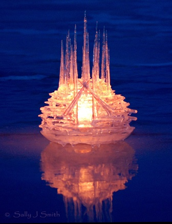 """Luminaria"" ice sculpture and photograph by Sally J. Smith"