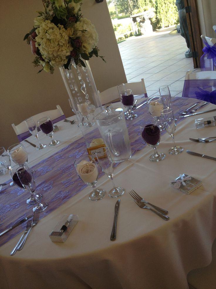tables  runner purple wedding wedding table