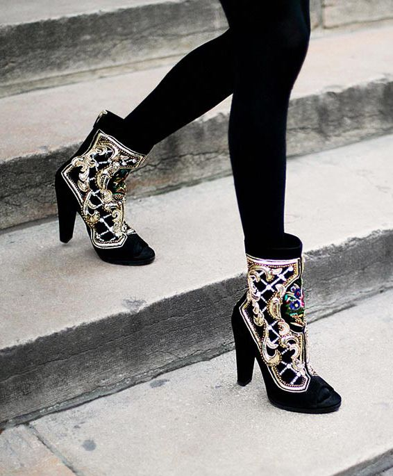 Golden embellished black #Balmain #boots Street Style at Spring Summer 2014 Paris Haute #Couture
