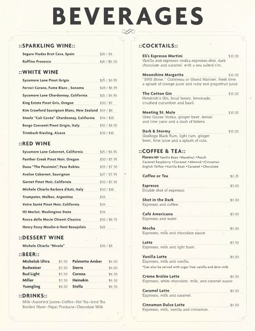 drinks menu branding pinterest