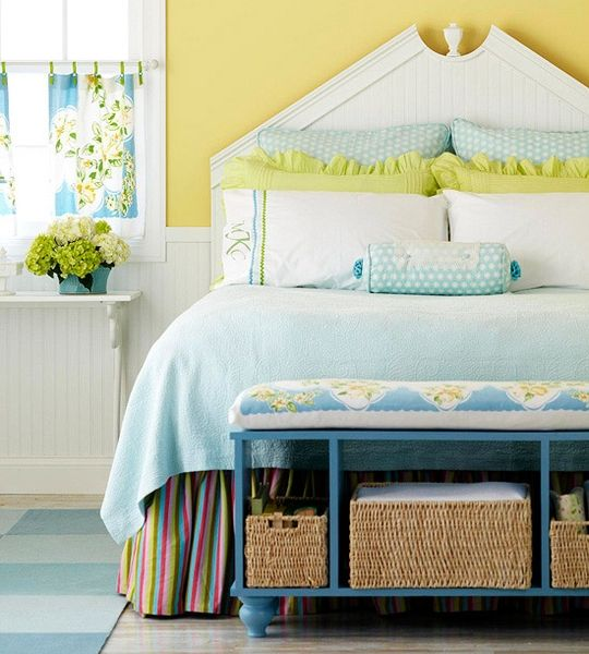 Blue Green And Yellow Bedroom. RicRac ribbon pillowcases with