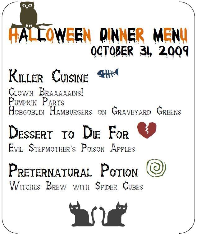 Halloween Party Menu...so Creative!!