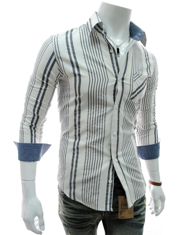 Slim Fit camisas Stripe bolso manga comprida