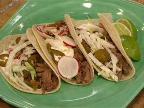 Slow-cooker Chipotle beef tacos with cabbage and radish slaw | Recipe
