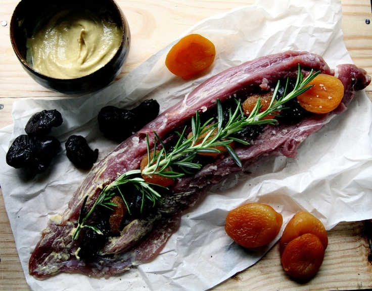 Pork tenderloin filet with boozy prunes, apricots, and mustard crème ...