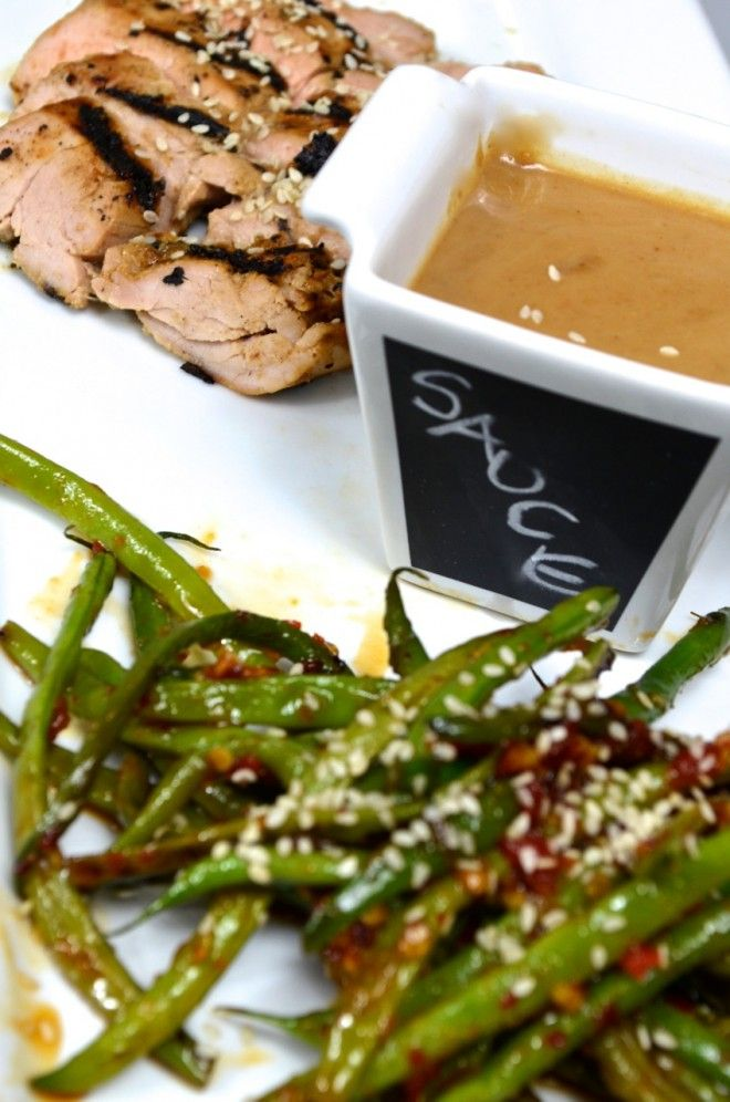 Pork tenderloin with peanut sauce served with spicy asian green beans ...