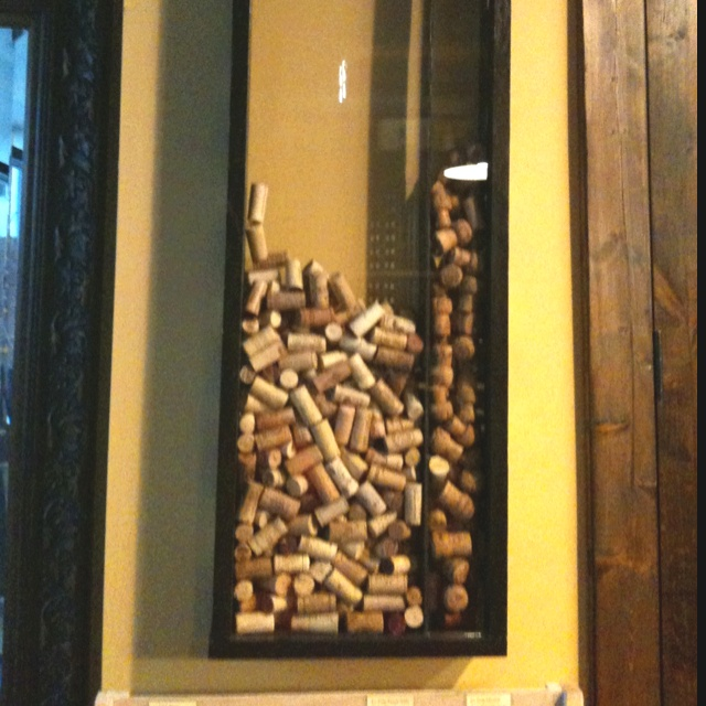wine cork display frame shadow box with a hole at the top