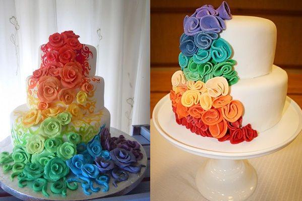Rainbow Rose Wedding Cake Side View Proud Of My Pride Pinterest
