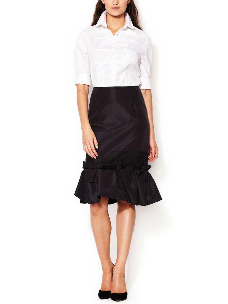 Silk Lace Ruffle Gathered Skirt By Carolina Herrera At Gilt