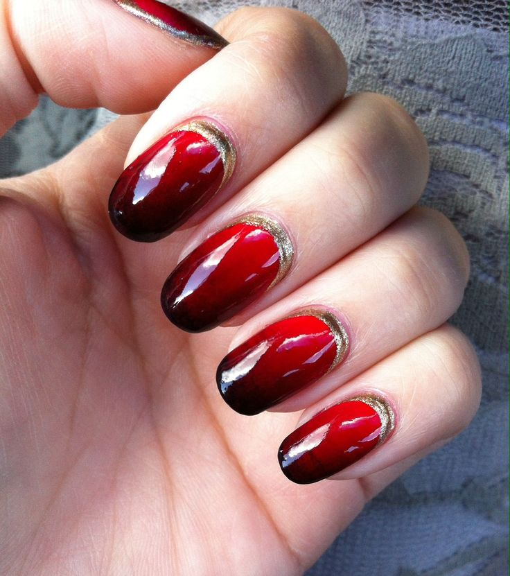 Red And Black Ombre Nails Red Ombre Nails