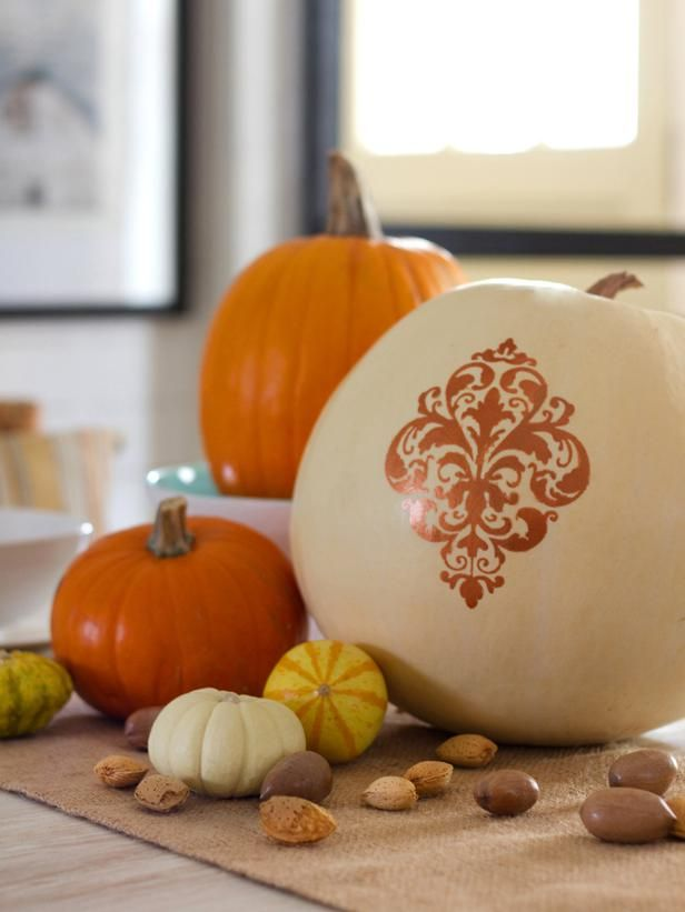 Fabric-Pattern Painted Pumpkin : Decorating : Home & Garden Television