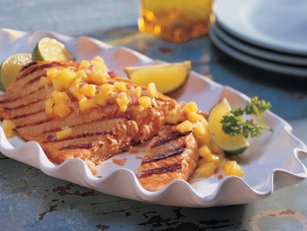 Grilled Ginger-Teriyaki Salmon with Honey-Mango Salsa   Recipe