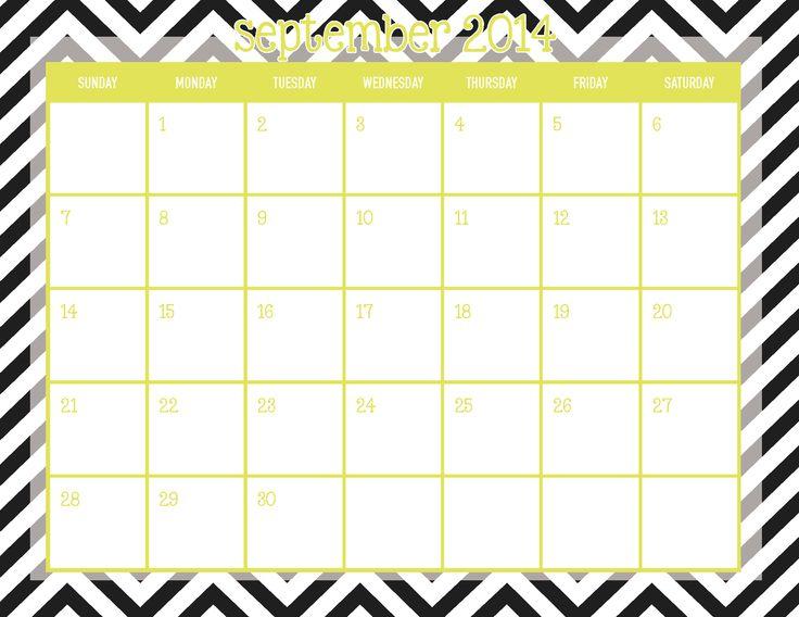 ... Printable! #calendar #printable #september #chartreuse #chevron