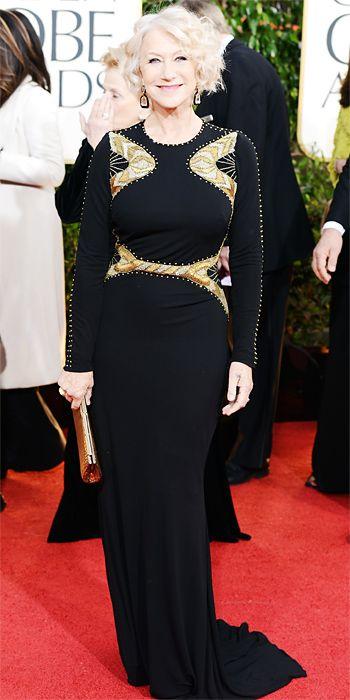 Helen Mirren in Badgley Mischka at the Golden Globes 2013