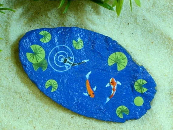 Koi pond painted rocks outdoors pinterest for Fish pond rocks