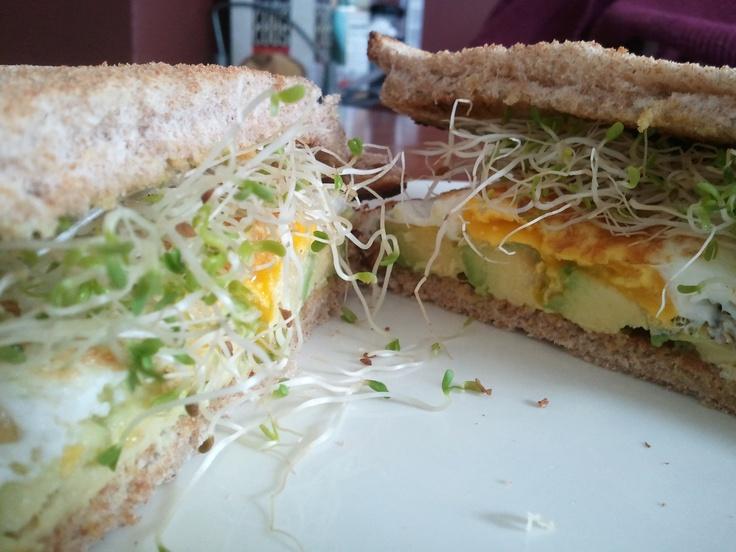 Avocado And Sprout Club Sandwich Recipe — Dishmaps