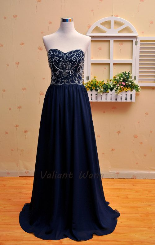 beat by doctor dre Navy Chiffon Crystal Prom Dress Sweetheart Bridesmaid Floor Length Dr