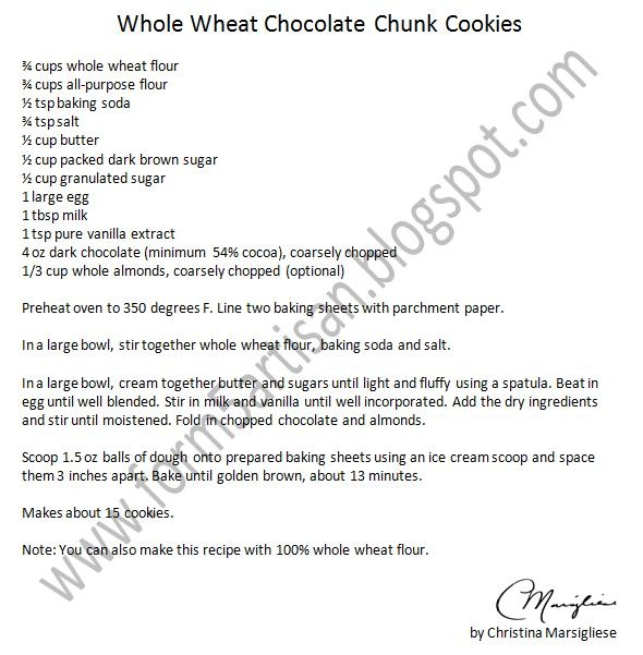Whole Wheat Chocolate Chip Cookies | Recipes | Pinterest