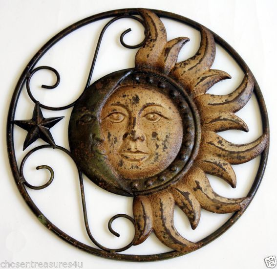 metal sun moon wall art in garden home wall decor fence plaque. Black Bedroom Furniture Sets. Home Design Ideas