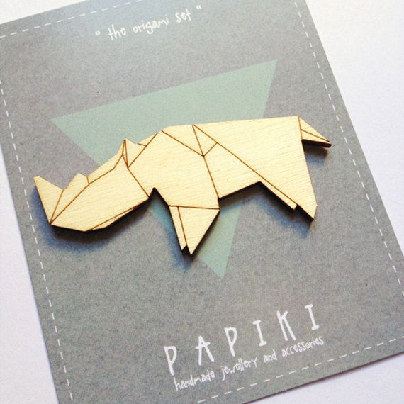 Origami rhino hand painted wooden brooch by papiki from Italy