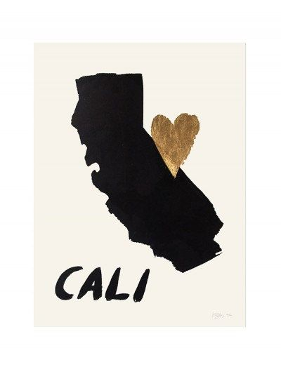 Home Is Where the Heart Is- CALIFORNIA (Gold Leaf Print). $45.00, via Etsy.