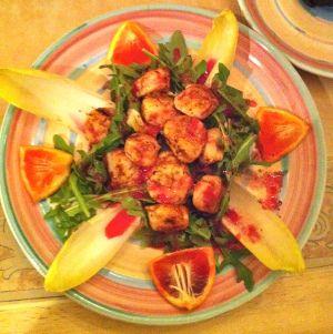 Seared #scallops over #arugula salad with #bloodorangevinaigrette