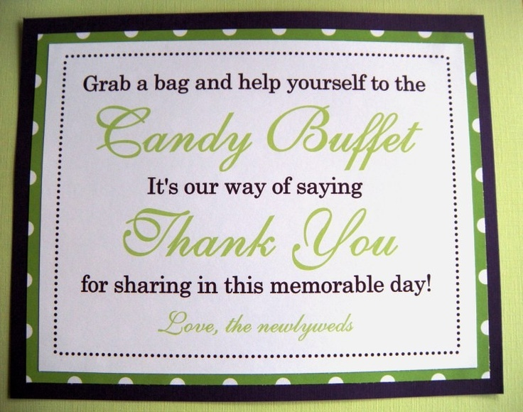 Bridal Shower Favor Sayings For Candy : Candy Table Quotes. QuotesGram