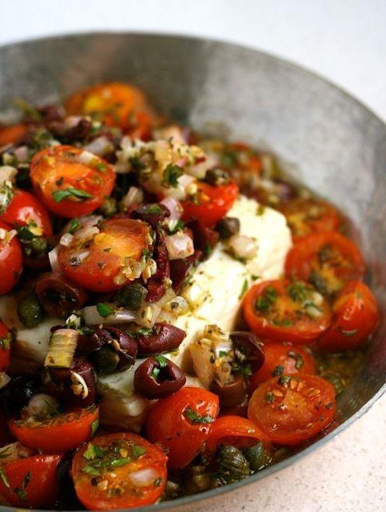 Baked Feta with Mediterranean Tomato Sauce | Recipe