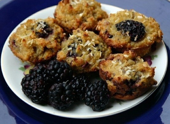 blackberry coconut crumble muffins by skunkboy creatures., via flickr