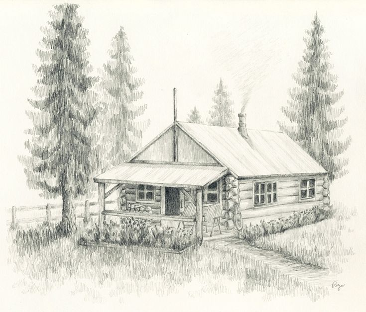 Aceo print little log cabin pencil drawing Cabin drawings