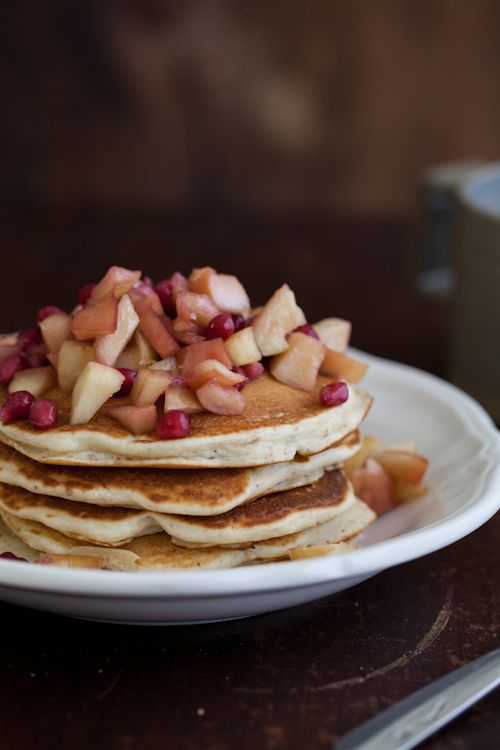 Wheat-Almond Pancakes with Apples and Pomegranate | Recipe